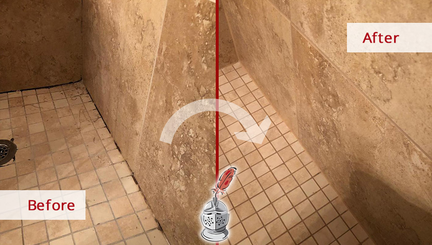 Before and After Picture of a Grout Cleaning Service in Austin, Texas