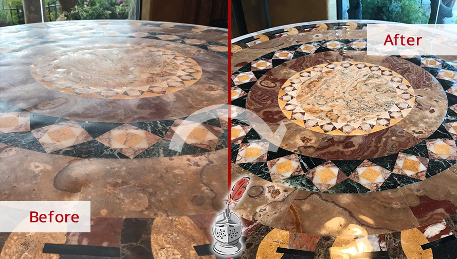 Picture of a Natural Stone Table  After a Stone Polishing Job in Austin, TX