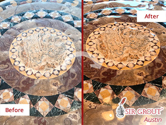 Natural Stone Table Before and After a Stone Polishing Process in Austin, TX