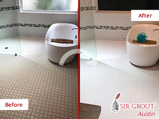 Before and After Picture of a Bathroom Floor Grout Sealing Job in Austin, TX