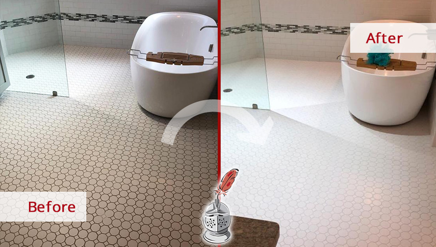 Bathroom Floor Before and After a Grout Sealing Service in Austin, TX