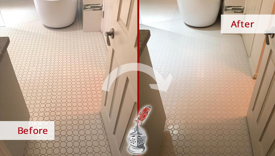 Bathroom Grout Lines Before and After Our Grout Sealing Service in Austin, TX