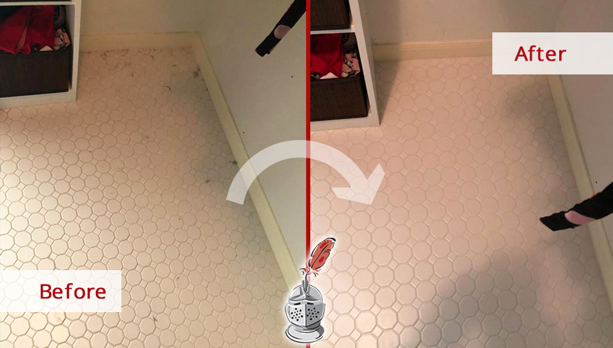 Floor Before and After Picture of Our Grout Sealing Process in Austin, TX