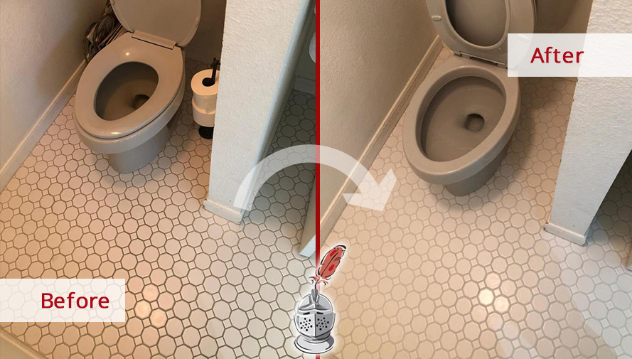 Before and After Picture of a Grout Sealing Service in a Bathroom Floor in Austin, TX
