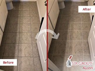 Before and After Picture of a Bathroom Floor Grout Cleaning in Austin, TX