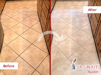 Before and After Picture of These Floors After a Grout Cleaning Service in Cedar Park, TX