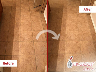 Before and After a Tile and Grout Cleaning in Buda, TX