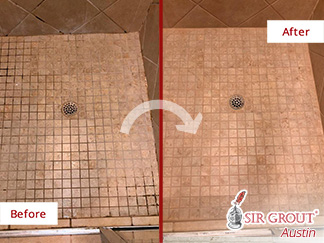 Before and After a Grout Recoloring in Round Rock, TX