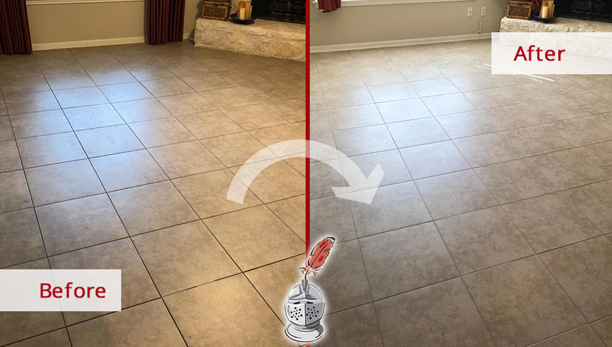 Ceramic Tile Floor Before and After Our Grout Sealing in Pflugerville, TX