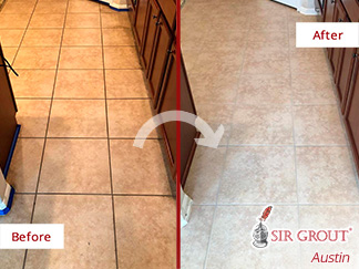 Before and After Picture of a Grout Sealing in Pflugerville, TX