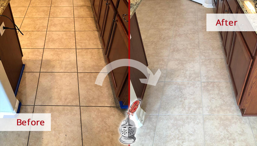 Kitchen Floor Before and After a Grout Sealing in Pflugerville, TX