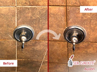 Before and After Picture of a Tile Cleaning in Pflugerville, TX