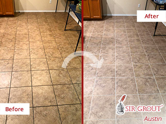 Before and After Picture of a Grout Cleaning in Pflugerville, TX