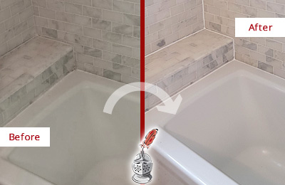 Before and After Picture of a Marble Bathroom Caulking on the Tub Joints
