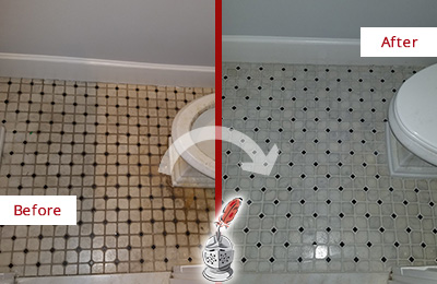Before and After Picture of a Bathroom Grout Cleaning