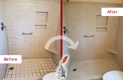 Before and After Picture of a Bathroom Grout Sealing on a Porcelain Tile Shower