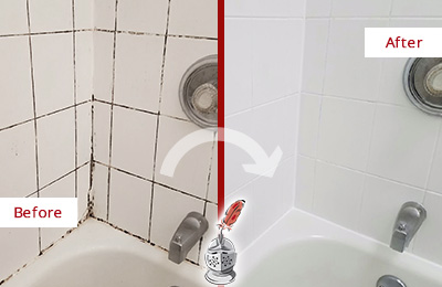 Picture of a White Tile Shower with Moldy Caulk Before and After a Bathroom Recaulking Service