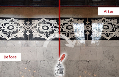 Before and After Picture of a Marble Floor Restored to Recover Its Shine