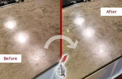 Before and After Picture of a Dull Marble Vanity Top Cleaned and Sealed to Remove Etch Marks