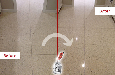Before and After Picture of Dull Granite Floor Honed and Polished to a Shinny Gloss