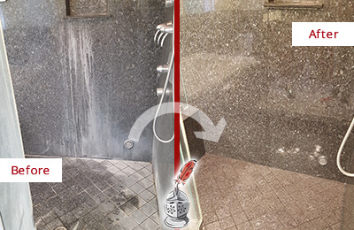 Before and After Picture of a Granite Shower with Mineral Deposits Honed and Polished
