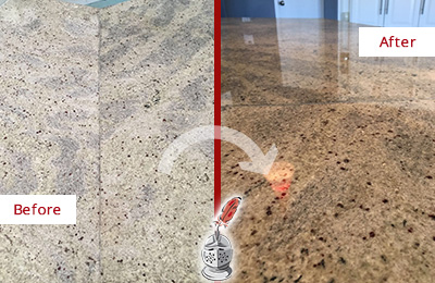 Before and After Picture of a Dull Kitchen Granite Countertop Honed and Polised to Recover Its Sheen
