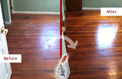 Before and After Picture of No Sanding Wood Armor Refinishing on Wood Floor