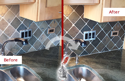 Before and After Picture of a Austin Backsplash Caulked to Fix and Prevent Water Leaks