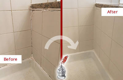 Before and After Picture of a Austin Shower Caulked to Repair Damaged Caulking