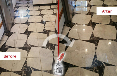 Before and After Picture of a Dull Lago Vista Marble Stone Floor Polished To Recover Its Luster