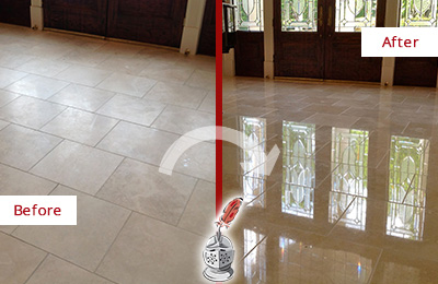 Before and After Picture of a Dull Lago Vista Travertine Stone Floor Polished to Recover Its Gloss