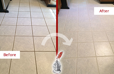 Before and After Picture of a Austin Kitchen Ceramic Floor Sealed to Protect From Dirt and Spills