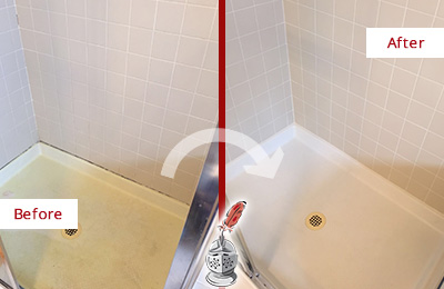 Before and After Picture of a Mustang Ridge Shower Sealed to Remove and Protect Against Mold