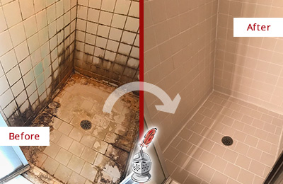 Before and After Picture of a Mustang Ridge Shower Sealed to Fix and Prevent Water Damage