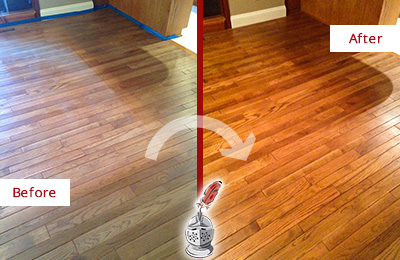 Before and After Picture of a Creedmoor Wood Deep Cleaning Service on a Dull Floor to Recover Its Sheen