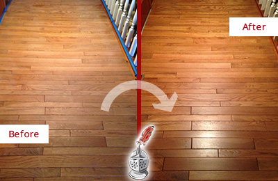 Before and After Picture of a Creedmoor Wood Deep Cleaning Service on a Dull Hallway