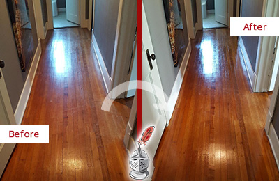 Before and After Picture of a Creedmoor Wood Deep Cleaning Service on a Floor to Eliminate Scratches