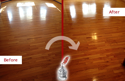 Before and After Picture of a Creedmoor Wood Deep Cleaning Service on a Room Floor to Remove Scratches