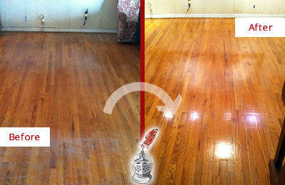 Before and After Picture of a Creedmoor Wood Deep Cleaning Service on a Stained Floor