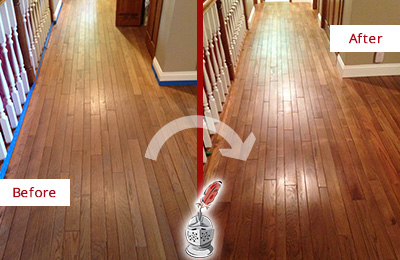 Before and After Picture of a Creedmoor Wood Deep Cleaning Service on a Worn Out Floor
