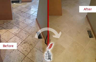 Before and After Picture of a Jonestown Kitchen Marble Floor Cleaned to Remove Embedded Dirt