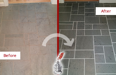Before and After Picture of a Jonestown Slate Floor Cleaned to Remove Deep-Seated Dirt