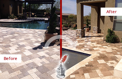 Before and After Picture of a Dull Jonestown Travertine Pool Deck Cleaned to Recover Its Original Colors