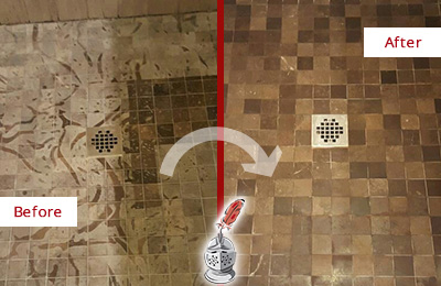 Before and After Picture of a Stained Jonestown Marble Shower Floor Cleaned to Remove Etching