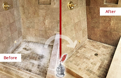 Before and After Picture of a Jonestown Travertine Shower Cleaned to Eliminate Water Spots