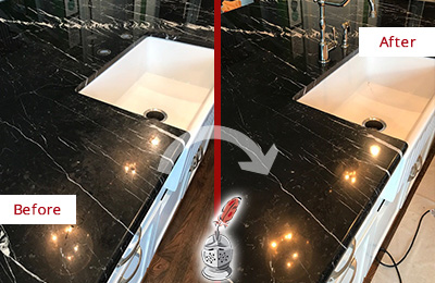 Before and After Picture of a Mustang Ridge Marble Kitchen Countertop Stone Sealed to Avoid Water Damage