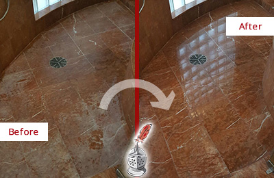 Before and After Picture of Damaged Rollingwood Marble Floor with Sealed Stone