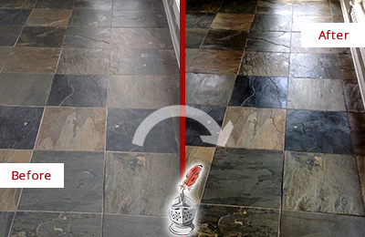 Before and After Picture of a Rollingwood Slate Stone Floor Sealed to Eliminate Dullness