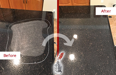 Before and After Picture of a Round Rock Granite Kitchen Countertop Honed to Eliminate Scratch