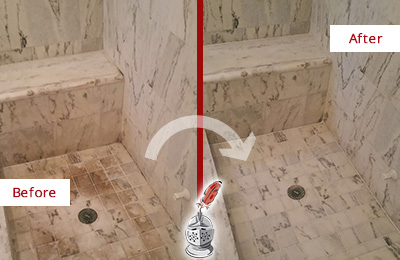Before and After Picture of a Round Rock Marble Shower Honed to Remove Dark Stains